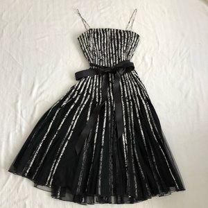 JS Collection Black White A Line Midi Dress Belt